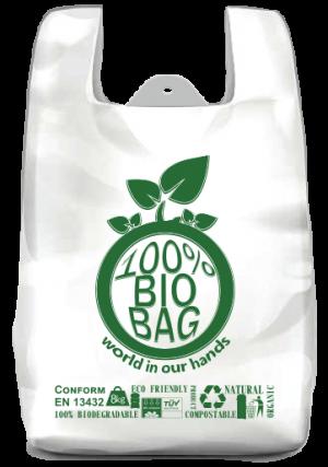 """Pungă tip maieu 30x60cm – """"100% Biobag"""" 2019"""